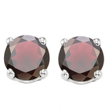 6mm Garnet Stud Earrings In Sterling Silver