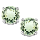 8mm Large Green Amethyst Stud Earrings In Sterling Silver