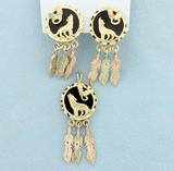 Native American Dream Catcher Pendant & Earrings Set In 10k Gold