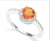 Azotic Topaz & Diamond Halo Ring In Sterling Silver
