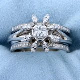 Unique Designer .60ct Tw Diamond Ring In 14k White Gold