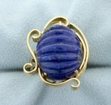 Large Statement Lapis Ring In 14k Yellow Gold