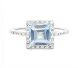 Large 2.1ct Sky Blue Topaz Halo Ring In Sterling Silver