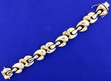 Italian Made Designer Link Bracelet In 14k Yellow Gold