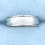 Beaded Edge Wedding Band Ring In 14k White Gold