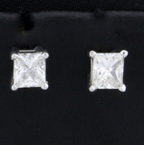 1.2ct Tw Princess Cut Diamond Stud Earrings In 14k White Gold