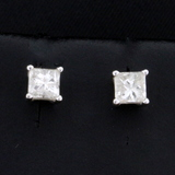 3/4ct Tw Princess Cut Diamond Stud Earrings In 14k White Gold