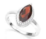 Large 1.9ct Garnet & Diamond Ring In Sterling Silver