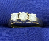 1ct Tw Three Stone Diamond Anniversary Or Wedding Ring In 14k Yellow And White Gold