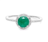 1.1ct Emerald & Diamond Halo Ring In Sterling Silver