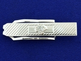 1/2ct Mine Cut Diamond Tie Clip In 10k White Gold