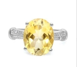 Huge 4.3ct Citrine & Diamond Statement Ring In Sterling Silver