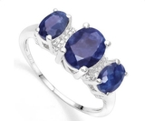2.5ctw Sapphire & Diamond 3-stone Ring In Sterling Silver