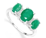 2.5ctw Emerald & Diamond 3-stone Ring In Sterling Silver