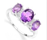 2ctw Amethyst & Diamond 3-stone Ring In Sterling Silver