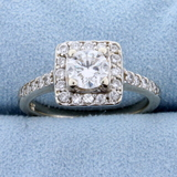 1ct Tw Diamond Halo Style Engagement Ring In 14k White Gold