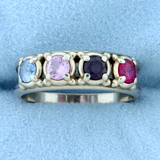 Multi Colored Gemstone Ring In 10k White Gold