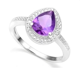 1.4ct Amethyst & Diamond Halo Ring In Sterling Silver