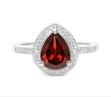 1.4ct Garnet & Diamond Halo Ring In Sterling Silver