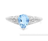 1.4ct Sky Blue Topaz & Diamond Ring In Sterling Silver