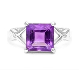 2.2ct Amethyst & Diamond Ring In Sterling Silver