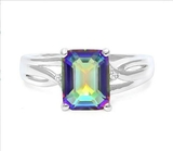 2.7ct Ocean Mystic Topaz & Diamond Ring