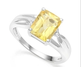 2.4ct Checkerboard Cut Citrine & Diamond Ring In Sterling Silver