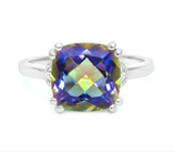 Huge 4.1ct Ocean Mystic Topaz & Diamond Ring In Sterling Silver