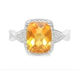 Checkerboard Cut 2.5ct Citrine & Diamond Ring In Sterling Silver