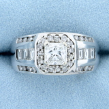 Men's 2 1/2ct Tw Princess Cut Diamond Ring In 14k White Gold