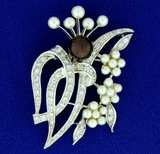 Vintage Tahitian And Akoya Pearl And Diamond Pin Or Brooch In 14k White Gold