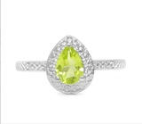 Peridot & Diamond Halo Ring In Sterling Silver