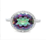 Huge 4.3ct Mystic Topaz & Diamond Statement Ring In Sterling Silver