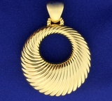 Large Italian Made Designer Door Knocker Style Pendant In 14k Yellow Gold
