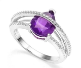 2ct Pear Cut Amethyst & Diamond Ring In Sterling Silver