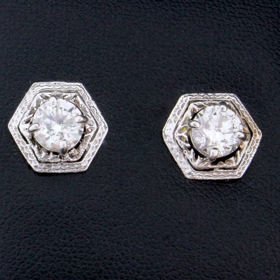 Vintage 1.6ct Tw Diamond Earrings In 14k White Gold