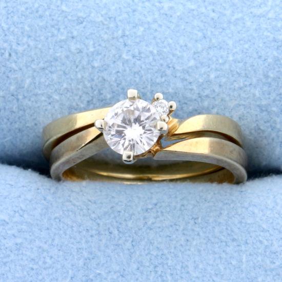 Matching Diamond Engagement Ring With Wedding Band Bridal Set In 14k Gold