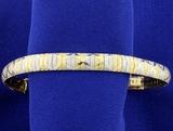 Italian Made Diamond Cut Omega Style 14k Yellow And White Gold Bracelet