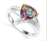 1.7ct Mystic Topaz & Diamond Ring In Sterling Silver
