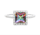 1.5ct Mystic Topaz Halo Ring In Sterling Silver