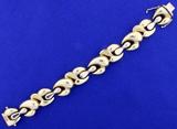 Italian Made Designer Link Bracelet In 14k Yellow Gold