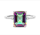 3ct Mystic Topaz & Diamond Ring In Sterling Silver