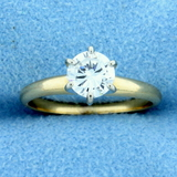 2/3 Ct Solitaire Diamond Engagement Ring In 14k Yellow And White Gold
