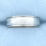 Beaded Edge Wedding Band Ring In 14k White Gold