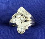 Vintage 3/4ct Tw Diamond Ring In 14k White Gold