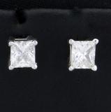 1.2ct Tw Princess Cut Diamond Stud Earrings In 14k White Gold