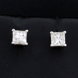 3/4ct Tw Princess Cut Diamond Stud Earrings In 14k White Gold