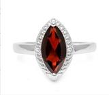 Large 1.9ct Garnet & Diamond Ring In Sterling Silver