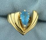 1.5ct Blue Topaz Ring In Designer Setting In 14k Yellow Gold