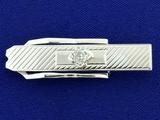1/2ct Mine Cut Diamond Tie Clip In 10k White Gold
